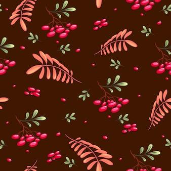 Outono padrão sem emenda com viburno vermelho e folhas de outono em um chocolate.