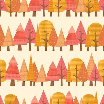 Outono padrão sem emenda de floresta.