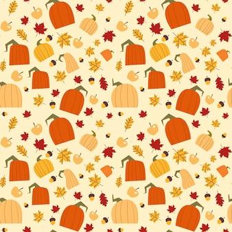 Outono padrão sem emenda de folhas de carvalho amarelo e abóboras ornamento temporada de outono