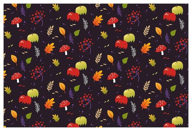 Outono padrão sem emenda de vetor com folhas de plantas e maçãs