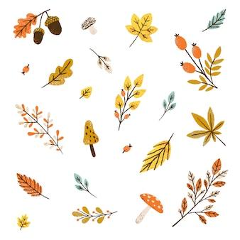 Outono padrão sem emenda. ilustração de folhas e cogumelos.