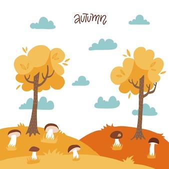 Outono paisagem amarela com árvores cogumelos, céu nublado quente ensolarado floresta plana vetor de fundo mar ...