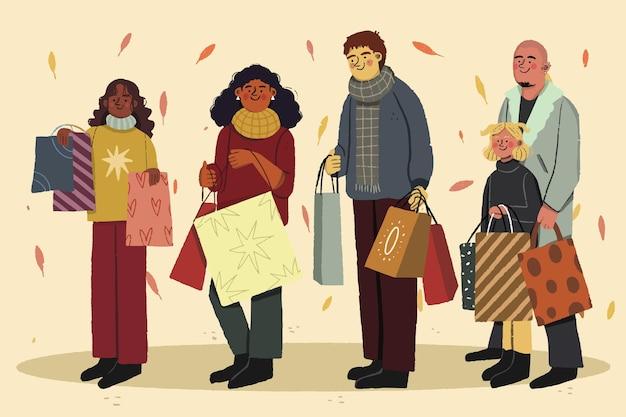Outono pessoas comprando ilustração