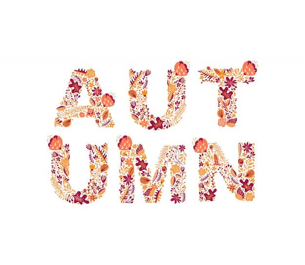 Outono texto com folhas coloridas