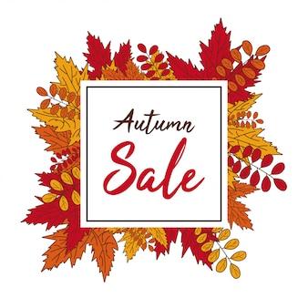 Outono venda banner cair folhas ilustração vetorial