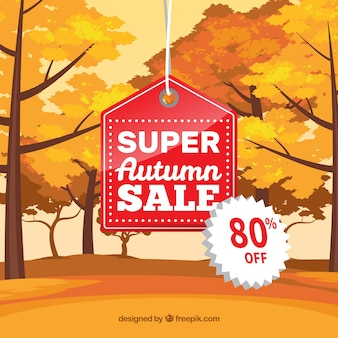 Outono venda fundo com árvores