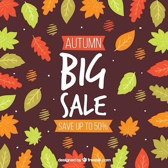 Outono venda fundo com folhas coloridas