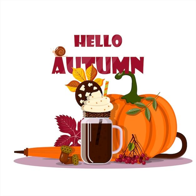 Outono vetor natureza morta café abóbora e folhas para cafés menus anunciando o dia de ação de graças