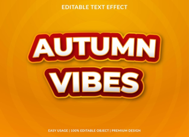 Outono vibes texto editável efeito modelo vetor premium