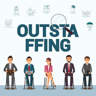 Outstaffing personnel flat vector banner modelo