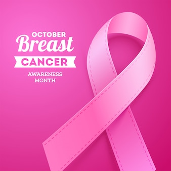 Outubro cartaz de mês de conscientização de câncer de mama com fita rosa de apoio.