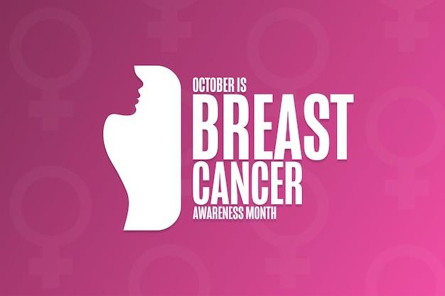Outubro é o mês da conscientização sobre o câncer de mama. conceito de férias. modelo de plano de fundo, banner, cartão, pôster com inscrição de texto. ilustração em vetor eps10.