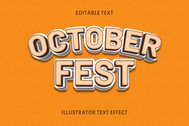 Outubro fest cor crime efeito de texto editável