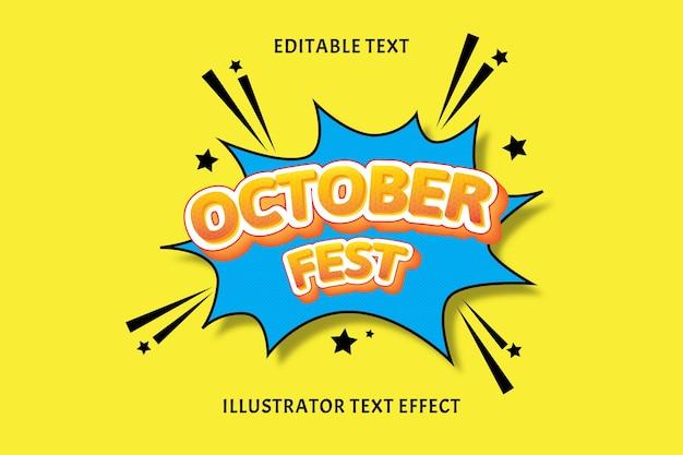 Outubro fest cor laranja branco efeito de texto editável