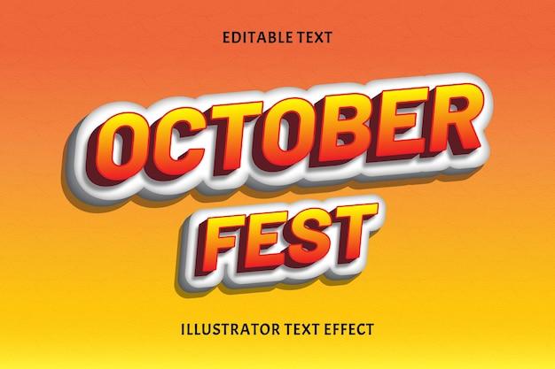 Outubro fest cor laranja efeito de texto editável