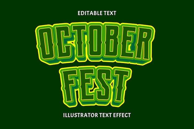 Outubro fest cor verde efeito de texto editável