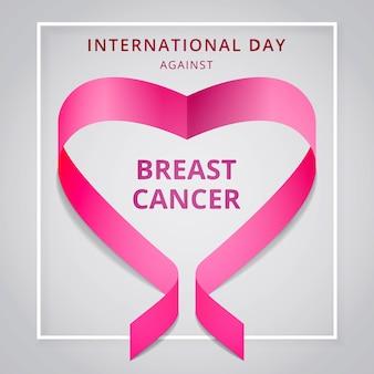 Outubro, mês de conscientização sobre o câncer de mama. dia internacional contra o câncer de mama. fita rosa da consciência em forma de coração. ilustração vetorial. cartaz, anúncio, mídia social, capa. eps10.