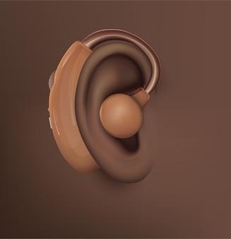 Ouvido humano de vetor. tratamento auditivo, cirurgia plástica, implantação