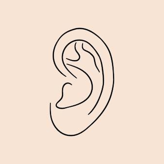 Ouvido humano. ícone de linhas desenhadas. ilustração vetorial.