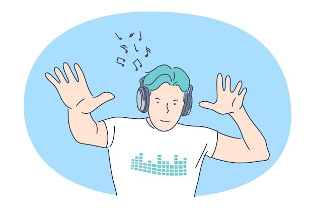 Ouvindo música, conceito de recreação