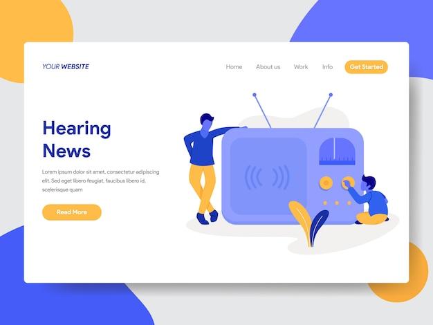 Ouvindo notícias de ilustração para páginas da web