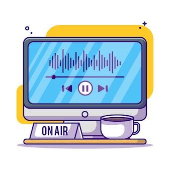 Ouvindo podcast na ilustração de desenho animado do monitor