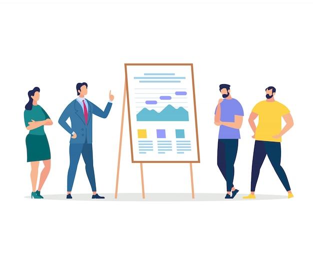 Ouvintes e coach apresentação no quadro de gráficos