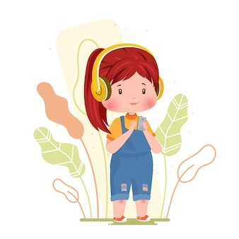 Ouvir música linda garota personagem conceito ilustração segurando smartphone