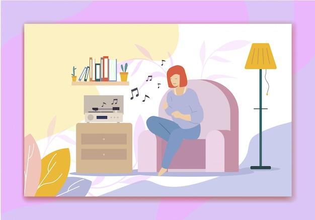 Ouvir música no toca-discos e no hobby de cantar