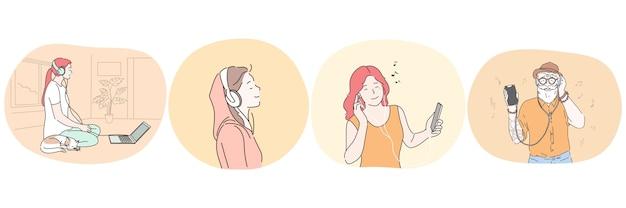 Ouvir música ou audiolivro com conceito de fones de ouvido.