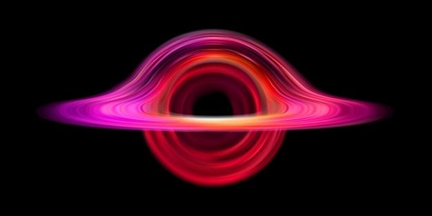 Oval roxo realístico do buraco negro. apocalipse do espaço frio.