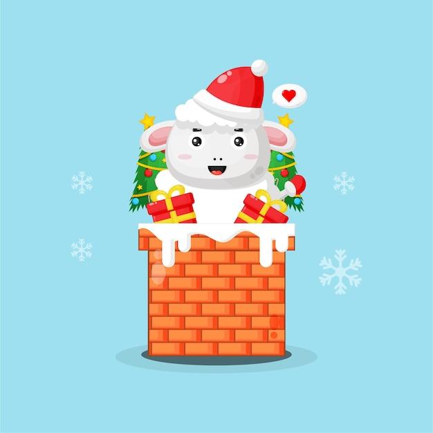 Ovelha adorável na chaminé com um presente de natal