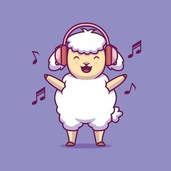 Ovelha adorável ouvindo música cartoon ilustração