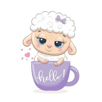 Ovelha bebê fofo no copo.