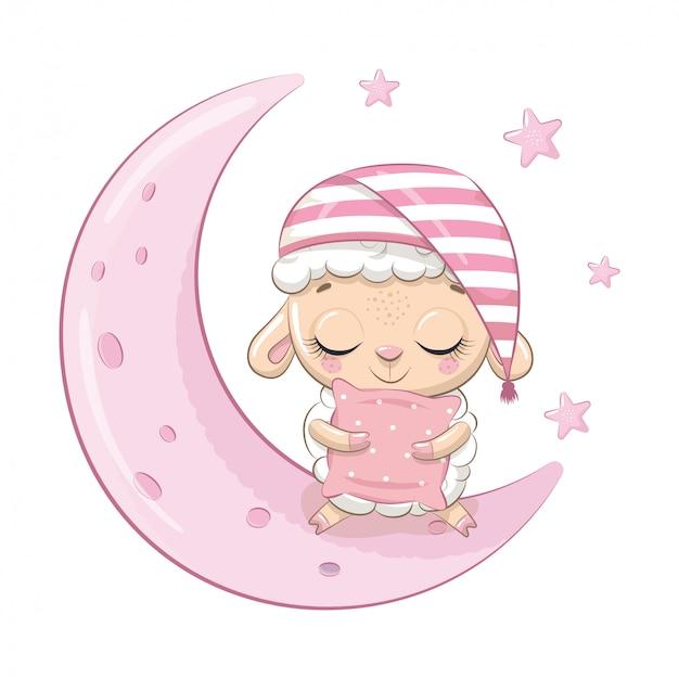 Ovelha bebê fofo sentado na lua.