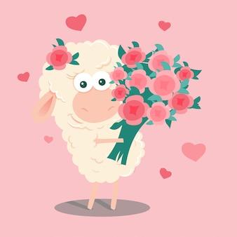Ovelha bonito dos desenhos animados com um buquê de rosas no dia dos namorados.