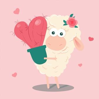 Ovelha bonito dos desenhos animados com um coração de cacto. ilustração