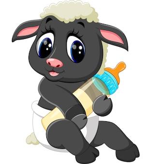Ovelha bonito dos desenhos animados segurando a garrafa de leite