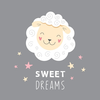 Ovelha branca fofa, bons sonhos