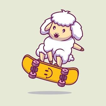 Ovelha brincando com ilustração de desenho animado de skate