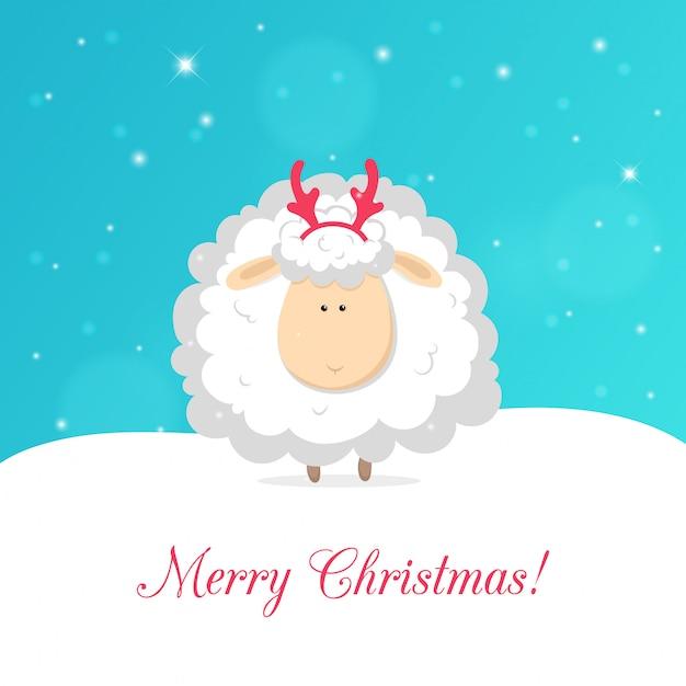 Ovelha engraçada branca isolada sobre fundo azul. cartão de natal
