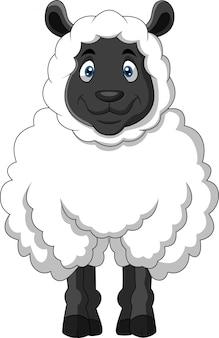 Ovelha engraçado dos desenhos animados, um sorriso