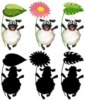 Ovelha feliz segurando o conjunto de folhas e flores
