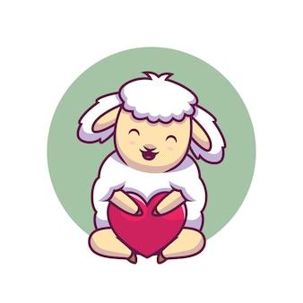 Ovelha fofa abraçando a ilustração dos desenhos animados de amor