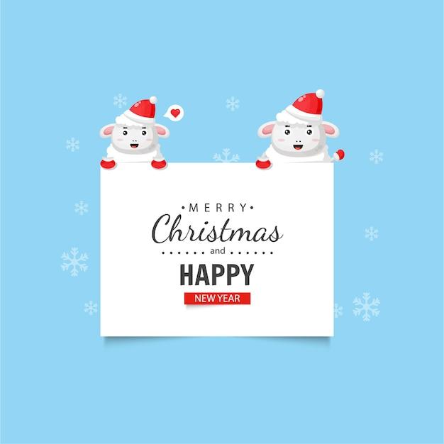 Ovelha fofa com desejos de natal e ano novo