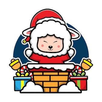 Ovelha fofa com fantasia de papai noel, personagem de desenho animado, conceito de natal