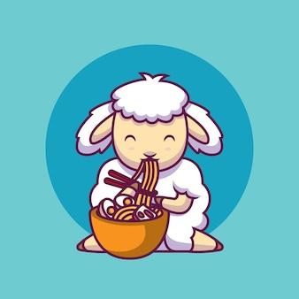 Ovelha fofa comendo macarrão com pauzinho ilustração dos desenhos animados