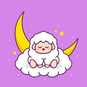 Ovelha fofa dormindo na nuvem