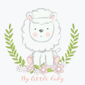 Ovelhas bebê fofo com estilo de flor mão desenhada
