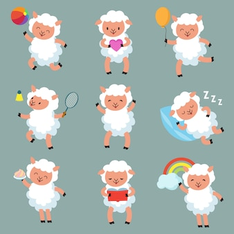 Ovelhas bebê fofo. personagens de vetor de cordeiro de lã engraçado dos desenhos animados